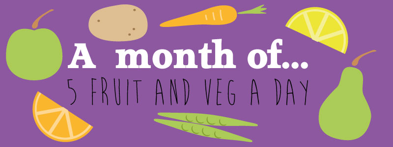A month of 5 fruit and veg surrounded by various fruit and veg
