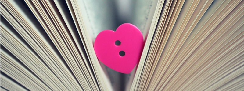 10 things I love and hate - pink heart button in a book